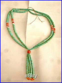 Long Turquoise Heishi Spiny Oyster Shell Large Bead Old 2 Strand Necklace Unisex
