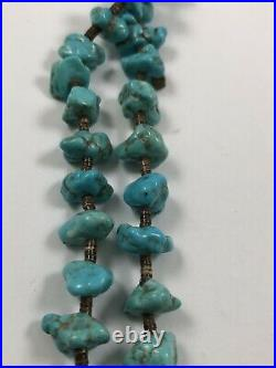 Long Vintage Native American Chunky Turquoise Dual Strand Heishi Necklace
