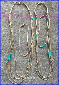 Lot of 7 items 4 Turquoise heishi necklaces 3 with liquid silver + 2 bracelets