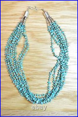 Lovely Vintage Multi Strand Turquoise Heishi Necklace 20 inches 4306