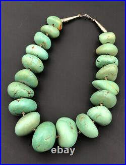 MASSIVE 327g Vtg Navajo Green ROYSTON TURQUOISE CHUNKY Polished Necklace 18