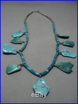 Magnificent Vintage Navajo Turquoise Heishi Oblong Sterling Silver Necklace