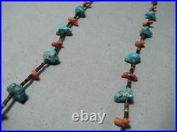 Marvelous Vintage Navajo Turquoise Coral Heishi Sterling Silver Necklace Old