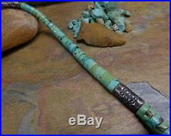 Massive Navajo Silver Heishi Stamped Bead Turquoise Necklace Native Old Pawn Era