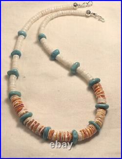 Mens 20 Orange Spiny Oyster Heishi Turquoise White Shell Necklace 925 Silver