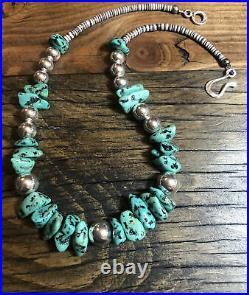 Mens Kingman Turquoise, Heishi, Sterling Silver Beads, 18 1/2 Necklace