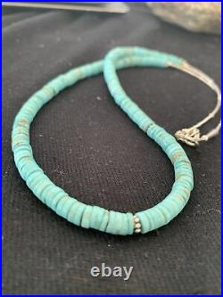 Mens Native AmerNavajo Blue Turquoise Heishi Sterling Silver Necklace20 855