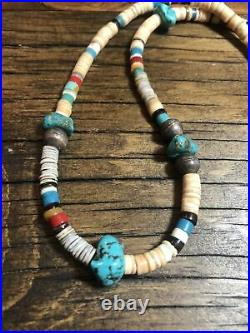 Mens Santo Domingo 19 Heishi Turquoise Necklace, 925 Silver Bench Beads