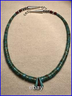 Mens Vintage Turquoise 18 1/2 Heishi Jacla Necklace Pipestone Silver 925