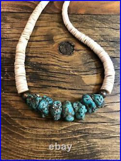 Morenci Turquoise Mens Vintage 20 1/2 Heishi 1970s Necklace 925 Silver WOW