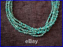 Multi Strand Santa Domingo Turquoise Heishi Bead Necklace Sterling Closure