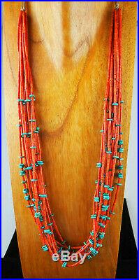 Museum Quality! 10-strand Coral And Turquoise Heishi Necklace Dine'/navajo
