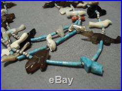 Museum Quality Vintage Navajo Turquoise Sterling Silver Fetish Heishi Necklace