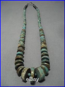 Museum Quality Vintage Navajo Turquoise Sterling Silver Heishi Necklace