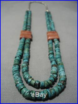 Museum Vintage Navajo Green Turquoise Heishi Coral Native American Necklace Old