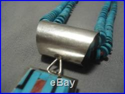 Museum Vintage Navajo Turquoise Heishi Sterling Silver Necklace Old