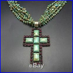NAVAJO 5-Strand HEISHI NECKLACE with Turquoise Garnet CROSS PENDANT Sterling 925