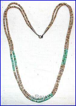 NAVAJO Native Am 2-Strand Turquoise & Shell Heishi Sterling Silver Necklace 35