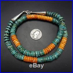 NAVAJO Sterling Silver ORANGE Spiny Oyster Shell & TURQUOISE Heishi NECKLACE