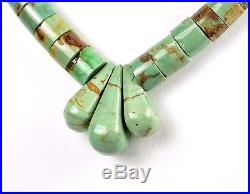 NA Santo Domingo Sterling Silver Green Turquoise Heishi Beaded Jacla Necklace