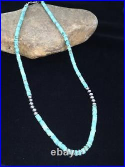 NWOT Navajo Pearls Sterling Silver Stab Heishi Blue Turquoise Bead Necklace01815