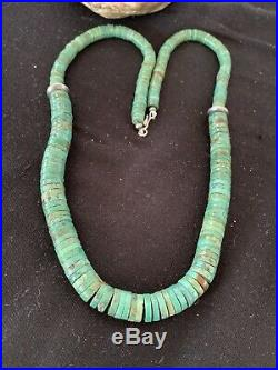 Native Amer Navajo Green Turquoise Heishi Sterling Silver Bead Necklace 27in 633