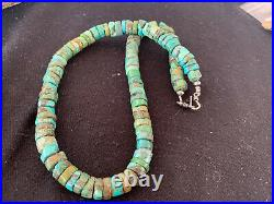 Native America Navajo Turquoise 12mm 20 Heishi Sterling Silver Bead Necklace384