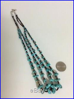 Native American 2 Strand Necklace Heishi Turquoise Nuggets