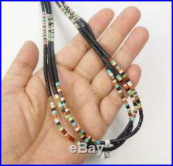 Native American 3 Strand Fine Heishi Jet Turquoise Coral Multicolor Necklace