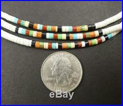 Native American 3 Strand Fine Heishi Shell Turquoise Jet Multicolor Necklace