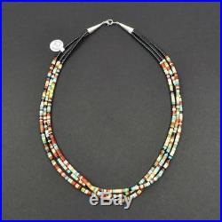 Native American 3 Strand Fine Heishi Turquoise Coral Jet Multicolor Necklace