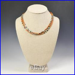 Native American 3 Strand Fine Heishi Turquoise Coral Jet Multicolor Necklace #1