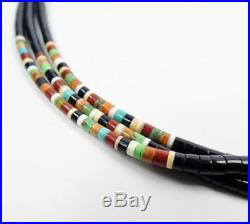 Native American 3 Strand Fine Heishi Turquoise Coral Jet Multicolor Necklace #2