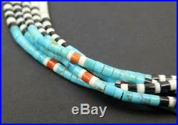Native American 5 Strand Multicolor Coral Turquoise Shell Fine Heishi Necklace