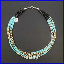 Native American 5 Strand Natural Turquoise Multicolor Stone Heishi Necklace