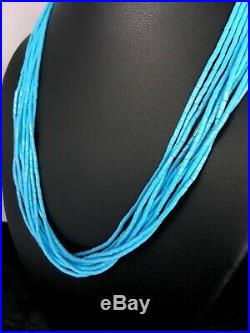 Native American Blue Turquoise Heishi 10St Sterling Silver Necklace 19 8872