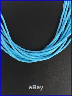Native American Blue Turquoise Heishi 10 St Sterling Silver Necklace 19 8872