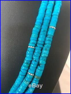 Native American Blue Turquoise Heishi Sterling Silver Bead Necklace Gift 382