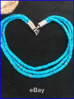 Native American Blue Turquoise Heishi Sterling Silver Bead Necklace Gift A382