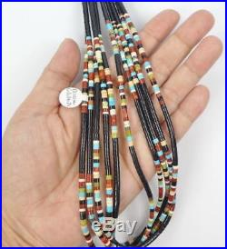 Native American Calabaza 5 Strand Heishi Turquoise Jet Multicolor Necklace