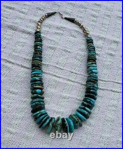 Native American Chunky Turquoise Disks Heishi Sterling Silver Necklace