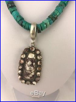 Native American Crazy Horse Turquoise Heishi Sterling Silver Necklace Pendant