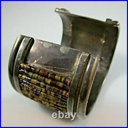 Native American Cuff Bracelet Turquoise & Heishi Shell Unmarked Silver 112.7g