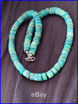 Native American Green Turquoise 11 mm Heishi Sterling Silver Bead Necklace 4631