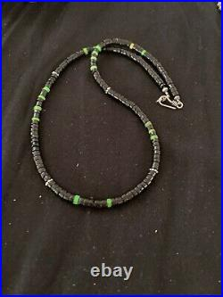Native American Green Turquoise Heishi Onyx Sterling Silver Necklace 4687