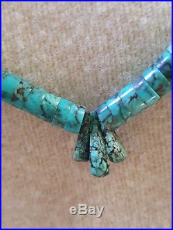 Native American Heishi Graduated Turquoise 13 Sterling Silver Clasp Necklace