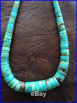 Native American Heishi Graduated Turquoise 16 Sterling Silver Necklace