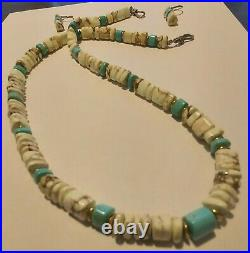 Native American Heishi White Buffalo and Blue Turquoise Necklace and Earrings