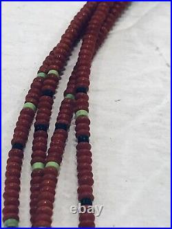 Native American Indian Turquoise Coral Heishi Beads Santo Domingo Necklace