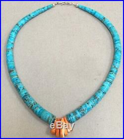 Native American Lupe Lovato Turquoise Spiny Oyster Heishi Bead Necklace